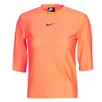 material Women short-sleeved t-shirts Nike NSICN CLSH TOP SS MESH Orange