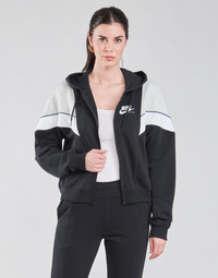 material Women sweaters Nike NSHERITAGE FZ FLC Black / Grey / White