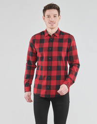 material Men long-sleeved shirts Jack & Jones JJEGINGHAM Red / Black