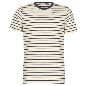 material Men short-sleeved t-shirts Jack & Jones JJESTRIPED Beige / Black