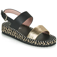 Shoes Women Sandals Café Noir GRISLI Black / Gold