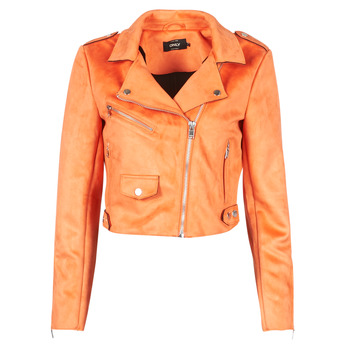 material Women Leather jackets / Imitation leather Only ONLSHERRY CROP BONDED BIKER Orange
