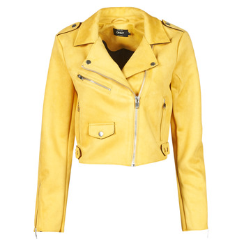 material Women Leather jackets / Imitation leather Only ONLSHERRY CROP BONDED BIKER Yellow