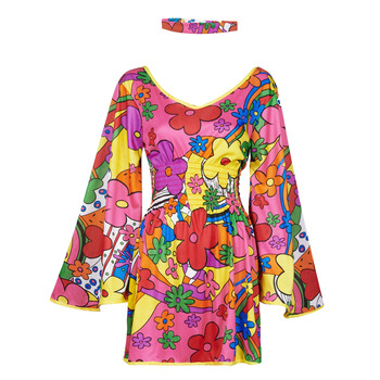 material Women Fancy Dress Fun Costumes COSTUME ADULTE FLORAL FUN Multicolour