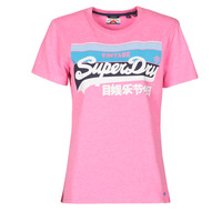material Women short-sleeved t-shirts Superdry VL CALI TEE 181 Pink