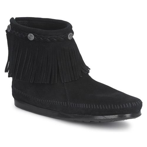 Shoes Women Mid boots Minnetonka HI TOP BACK ZIP BOOT Black
