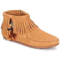 Shoes Women Mid boots Minnetonka CONCHO FEATHER SIDE ZIP BOOT Camel