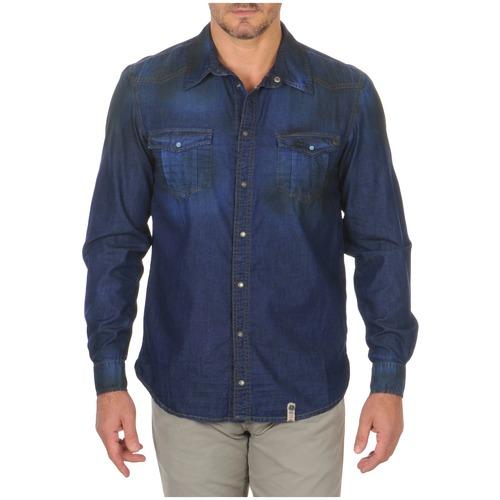 material Men long-sleeved shirts Freeman T.Porter CORWEND DENIM Blue