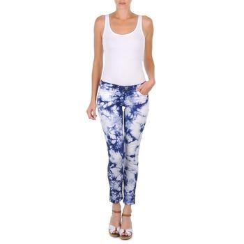 material Women cropped trousers Cimarron CLARA TIE DYE Blue