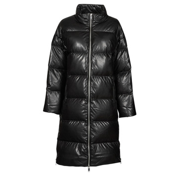 material Women Duffel coats MICHAEL Michael Kors LONG FAUX LTHR PUFFER Black