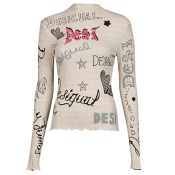 material Women Long sleeved shirts Desigual LETTERING Beige