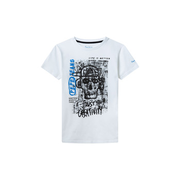material Boy short-sleeved t-shirts Pepe jeans ALAN White