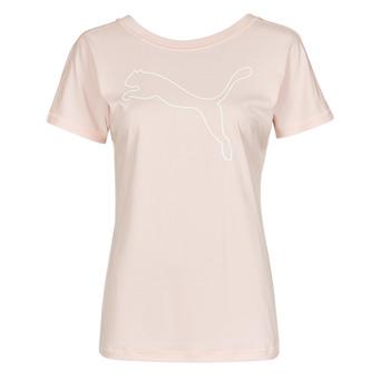 material Women short-sleeved t-shirts Puma TRAIN FAVORITE JERSEY CAT TEE Pink