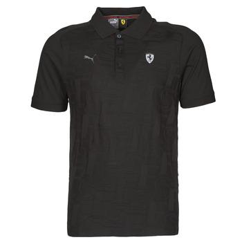 material Men short-sleeved polo shirts Puma FERRARI STYLE JACQUARD POLO Black