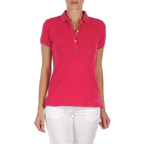 material Women short-sleeved polo shirts Napapijri ELINDA Pink
