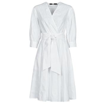 material Women Short Dresses Karl Lagerfeld LOGO EMROIDERED SHIRT DRESS White
