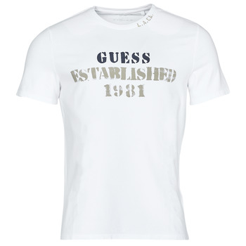 material Men short-sleeved t-shirts Guess WORKFOR CN SS TEE White