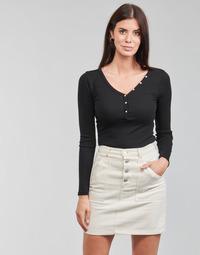 material Women Long sleeved shirts Guess ES LS V NECK LOGO HENLEY TEE Black