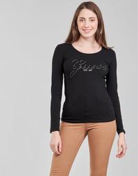 material Women Long sleeved shirts Guess LS CN RAISA TEE Black