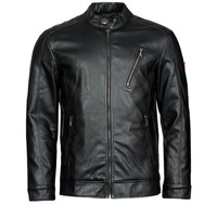 material Men Leather jackets / Imitation leather Guess PU LEATHER BIKER Black