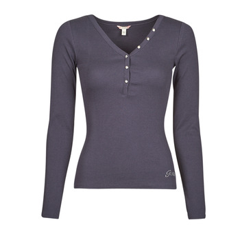material Women Long sleeved shirts Guess ES LS V NECK LOGO HENLEY TEE Navy / Space