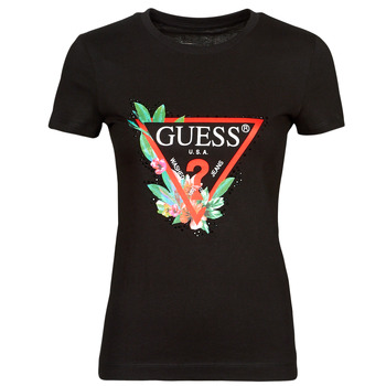 material Women short-sleeved t-shirts Guess SS CN NORA TEE Black
