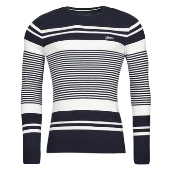 material Men jumpers Guess LONDON EMBOSSED STRIPED CN Marine / White