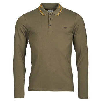 material Men long-sleeved polo shirts Guess OLIVER LS POLO Brown