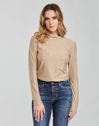 material Women Long sleeved shirts Guess LS EMBOSSED LOGO TOP Beige