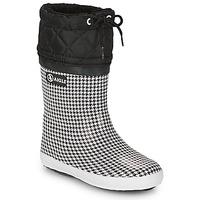 Shoes Girl Snow boots Aigle GIBOULEE PRINT Black / White