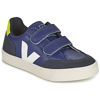 Shoes Children Low top trainers Veja SMALL V-12 VELCRO Blue / White
