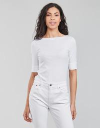 material Women Long sleeved shirts Lauren Ralph Lauren JUDY-ELBOW SLEEVE-KNIT White