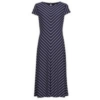 material Women Long Dresses Lauren Ralph Lauren PIPPA-CAP SLEEVE-DAY DRESS Blue