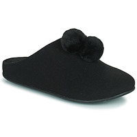 Shoes Women Slippers FitFlop CHRISSIE POM POM SLIPPERS Black