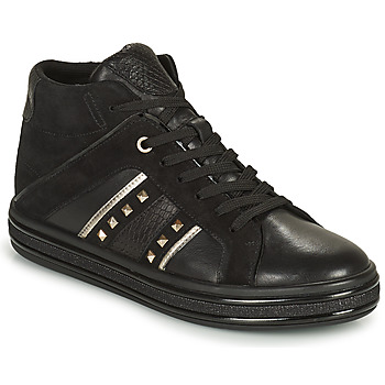 Shoes Women High top trainers Geox LEELU Black / Silver