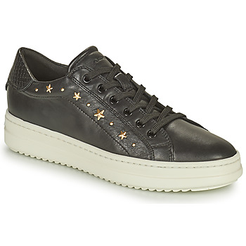 Shoes Women Low top trainers Geox PONTOISE Black / Gold