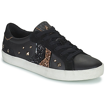 Shoes Women Low top trainers Geox WARLEY Black / Gold