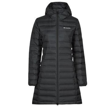 material Women Duffel coats Columbia LAKE DOWN LONG HOODED JACKET Black