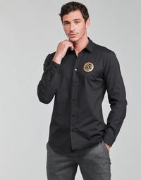material Men long-sleeved shirts Versace Jeans Couture SLIM PRINT V EMBLEM GOLD Black / Gold