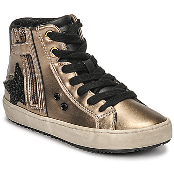 Shoes Girl High top trainers Geox KALISPERA Gold / Black