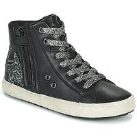 Shoes Girl High top trainers Geox KALISPERA Black / Silver