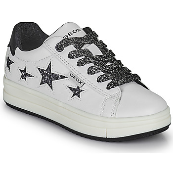 Shoes Girl Low top trainers Geox REBECCA White / Black