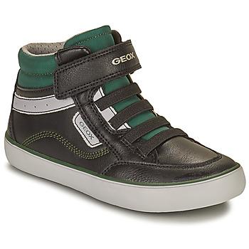 Shoes Boy High top trainers Geox GISL Black / Green