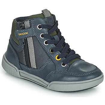 Shoes Boy High top trainers Geox POSEIDO Marine / Green
