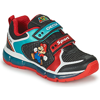 Shoes Boy Low top trainers Geox ANDROID Black / Blue / Red
