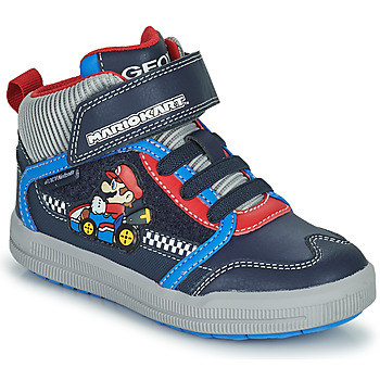 Shoes Boy High top trainers Geox ARZACH Blue / Red / Grey
