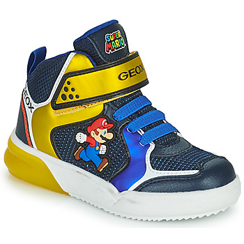 Shoes Boy High top trainers Geox GRAYJAY Blue / Yellow