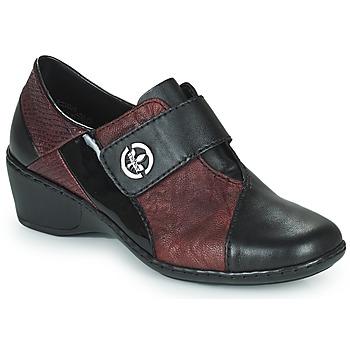 Shoes Women Loafers Rieker HANTAR Black / Bordeaux