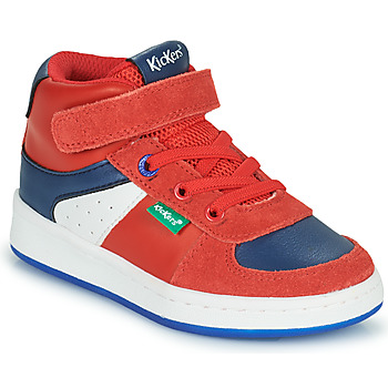 Shoes Boy High top trainers Kickers BILBON MID Red