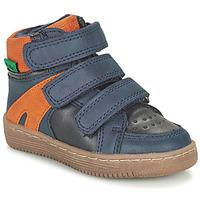 Shoes Boy Mid boots Kickers LOGGAN Marine / Orange